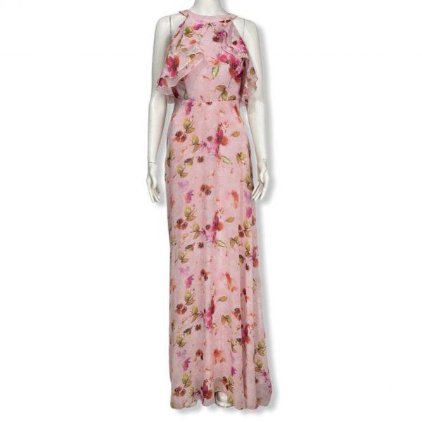 Abiye Uzun Çiçek Desenli Elbise
